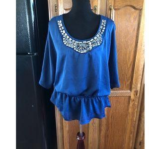 Elementz Blue Beaded Neckline Top Size XL